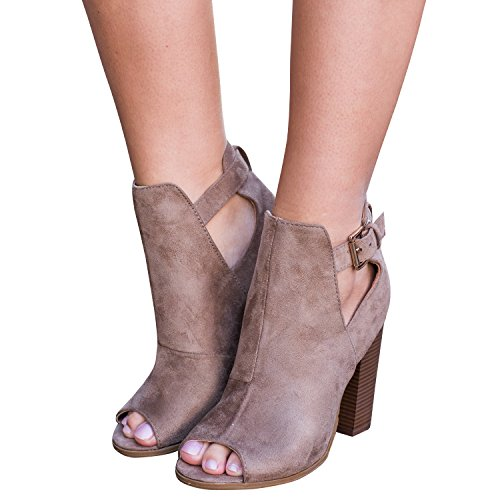 FISACE Womens Cut Out Heeled Buckle Slip On Low Chunky Heel Western Faux Stacked Ankle Bootie Brown wQ8pcZwg