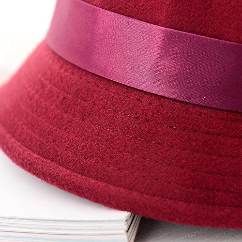 Gespout Chapeau Femme Élégant Bloquer la lumière du soleil Anti-UV Protège la peau Été Voyager Décoration de fête(Bourgogne)