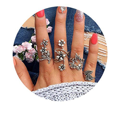 Gallity 4 Pcs Rings Set Natural Flower Wedding Ring Joint Knuckle Nail Ring Retro Jewelry Gift