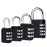 4 Pack Combination Padlocks by DigHealth, Weatherproof, Keyless and Multiple Size, 3 or 4 Digit Code Locks, Resettable Number Password Locks for Gym & School Lockers, Luggage Suitcases (black)