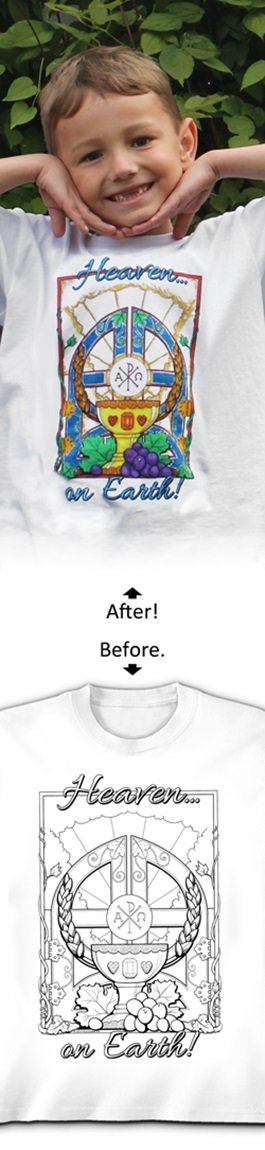 Arts &クラフトキットColorable Tシャツwithマーカー – Heaven On Earth – Child M   B00KN4X5IC