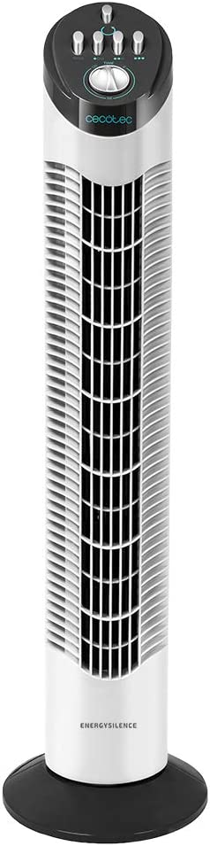 Cecotec Ventilador de Torre EnergySilence 790 Skyline. 50 W, 30'' (76cm) de Altura, Oscilante, Motor de Cobre, 3 Velocidades, Temporizador 2 Horas, Silencioso, Blanco