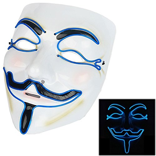 Scary Mask Halloween Light Up Mask EL Wire V for Vendetta Cosplay Led Costume Mask Fawkes Anonymous for Festival Parties -