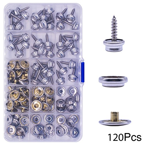 Button Canvas (120 Pcs Snaps Fastener Screw Snaps, (Marine Grade, 3/8 Socket, 5/8 Screw) Heavy Duty Metal Snaps Button for Boat Canvas By YZS, 40 Sets)