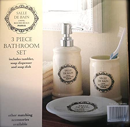 3 Piece French Bathroom Accessory Pack   Bathroom Accessory Set   Tumbler  Soap Dispenser U0026 Soap