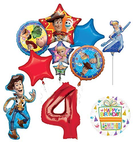 Mayflower Products Toy Story Party Supplies Woody and Friends 4th Birthday Balloon Bouquet Decorations]()
