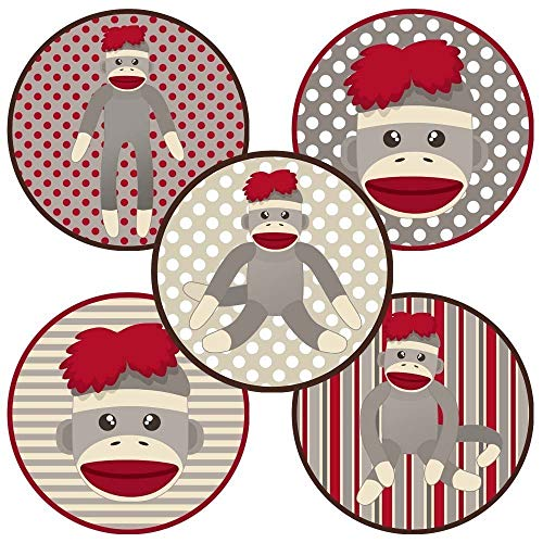 - Sock Monkey Sticker Labels - Kids Boy Girl Birthday Baby Shower Party Favor Labels - Set of 50
