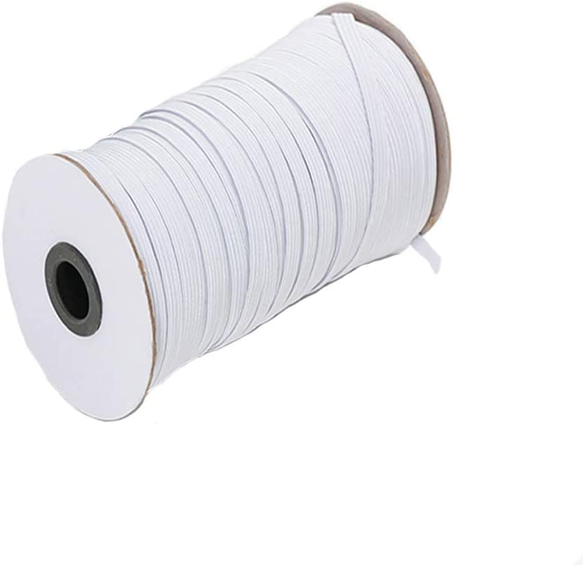 Knitting 5FT Sewing Craft Projects with Free Tape Measure 1//8 Inch Elastic Cord For Sewing Mask Round Elastic Band Heavy Stretch Elastic String 109 yards in White Color for Homemade DIY /& Contactless No-Touch Door Opener Tool