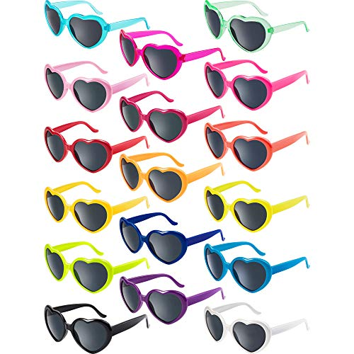 Blulu 17 Pairs Neon Colors Heart Shape Sunglasses for Party Favor Supplies Holiday Accessories - Party Womens Sunglasses