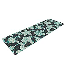 """Kess InHouse Julia Grifol """"My Grey Spotted Flowers"""" Yoga Exercise Mat, Y, 72 x 24-Inch"""