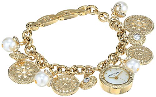 Anne Klein Women's AK/3356CHRM Swarovski Crystal Accented Gold-Tone Charm Bracelet Watch from Anne Klein