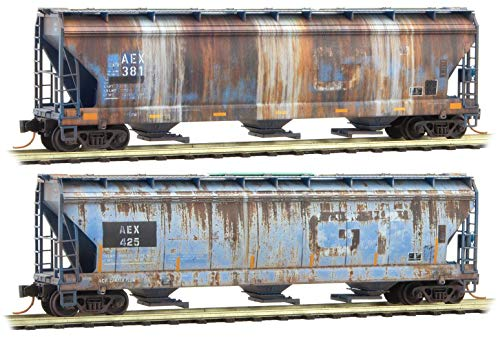 (Micro-Trains MTL N-Scale 3-Bay Covered Hoppers AEX/Ex-GTW Weathered 2-Pack)