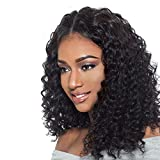 Addcolo Curly U Part Wig For Black Women 8A Brazilian Virgin Hair Upart Wig Loose Curly U Part Human Hair Wigs 1.5x4 Middle Part Natural Color 22Inch 130% Density