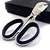 CyJay Cigar Scissors Stainless Steel Guillotine Style Super Sharp Cutters Perfect for Most Cigars (Silver&Black)