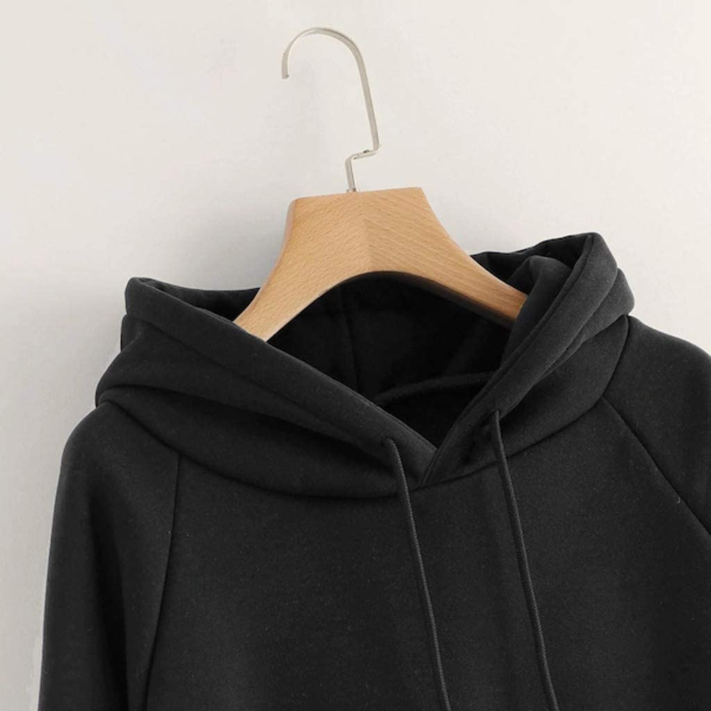 HGWXX7 Womens Hoodie Drawstring Solid Color Casual Loose Blouse Tops Long Sleeve Pullover Sweatshirt with Pocket