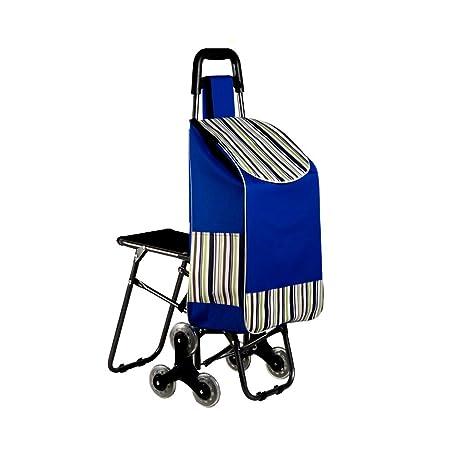 AAFEO-Trolley Carretilla Plegable portátil del Carro de la Compra (Color : Azul)