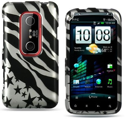 Crystal BLACK ZILVER ZEBRA STARS Snap-On Phone Protector Hard Cover Case for HTC EVO 3D (Sprint) (Sprint Htc Evo 3d Phone Covers)