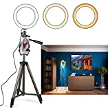 Eocean 8'' Selfie Ring Light with Tripod for YouTube/Live Stream/Makeup, Mini Led Camera Ringlight for Vlog/Video/Photography Compatible with iPhone Xs/Max/XR 8/7 Plus/X/Android