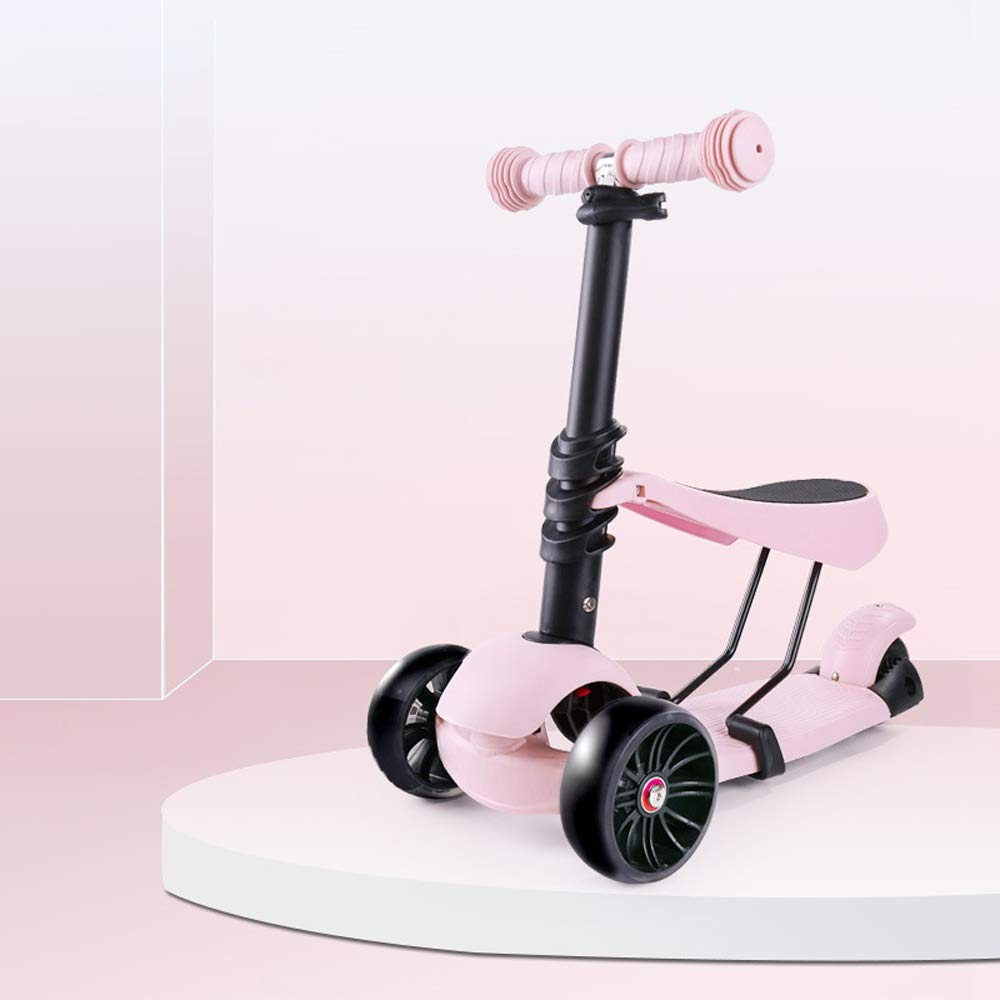 FDSjd Scooter 1-2-3-6 Years Old Skating Can Take A Beginner Flash Yo Car Comfortable Sliding Scooter (Color : Pink 1)