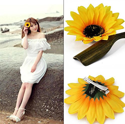 6PCS Beautiful Sunflower Hair Alligator Clips Hair Clamp Hair Styling Accessories for Lady Girls Party Beach Vacation Wedding Decoration
