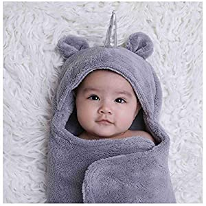 Newborn Babies Blankets Cute Unicorn Plush Swaddle Blankets Infnats Baby Girl Gifts Warm Clothes Baby for 0-6 Months Grey