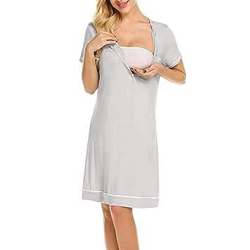 faadd33640d Maternity Dress Photoshoot, Inkach Pregnancy Women's Solid Color Long  Sleeve Button Crew Neck Nursing Breastfeeding