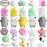 Animal Stress Toys, Outee 30 Pcs Mochi Squeeze Toy Squishy Mochi Cat Stress Squishy Cat Toy Squishy Stress Animals Mochi Squeeze Toy Kawaii