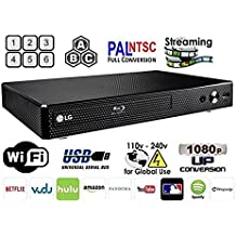 LG BP-350 Region Free Blu-ray Player, Multi region Smart Wifi 110-240 volts, 6FT HDMI cable & Dynastar Plug adapter bundle Package