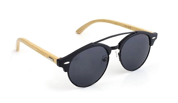 Gafas de sol con arco lentes negros patillas de madera ...