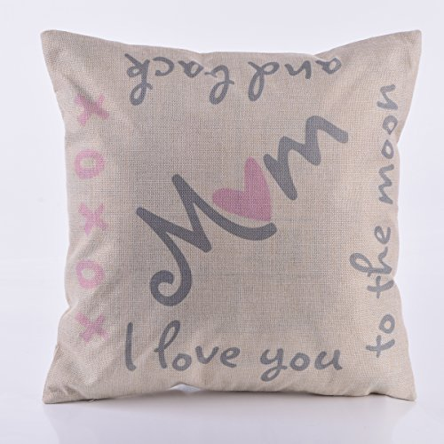 om I Love You to the Moon and Back Pattern Durable Cushion Cover for Home Decorative 18-Inch-by-18-Inch Cotton Linen Square Soft Pillow Case Cover Standard Size Pillowcase,Beige (Hot Coldwater Machine)