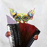 Yqm Art - 100% Hand painted canvas oil painting Animal Funny dog Play Accordion Wall Art for Bedroom Living Room Home Decoration Wood Inside Framed Ready to Hang (24x24Inch)