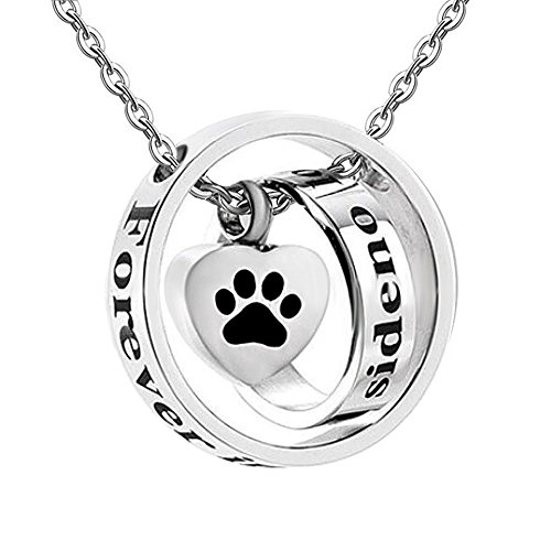 - Infinite Memories - No Longer by My Side Forever in My Heart - Paw Print with Cross Rings Pendant Urn Necklace for Cremation Ashes Memorial