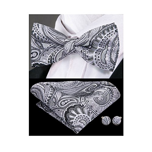 Link Dot (Hi-Tie Paisley Bowtie Handkerchief Cufflinks Mens Silk Wedding Bow Tie Pocket Square)