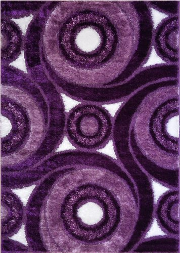 RugStylesOnline Royal Collection Purple Contemporary Design Shaggy Area Rug (6069) (4