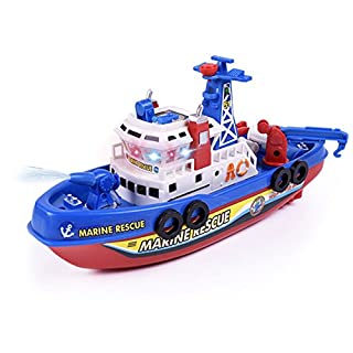 Eugeneq High Speed Music Light Electric Marine Rescue Fire Fighting Boat Non-Remote Toy Kids Gifts