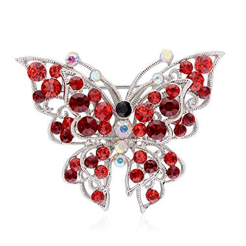 61 Style Women Retro Rhinestone Crystal Flower Wedding Bridal Corsage Brooch Pin (StyleID - #48_ Red Diamond Butterfly 6.)