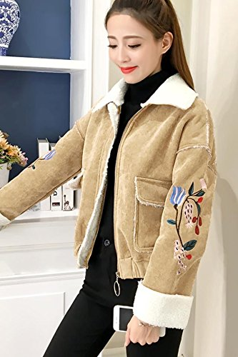 Korean version sweet embroidered flowers loose corduroy cashmere coat female wind padded winter coat Students for women girl (Coat Corduroy Flower)