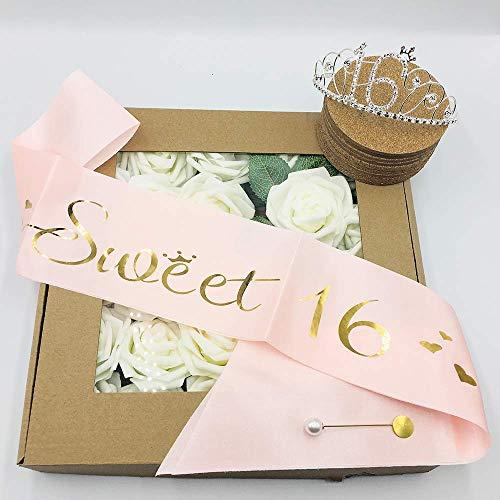 16th Birthday Party Supplies, 16th Birthday Tiara and Sash, Happy 16th  Birthday Party Supplies, Sweet 16 Sash & Rhinestone Tiara Kit