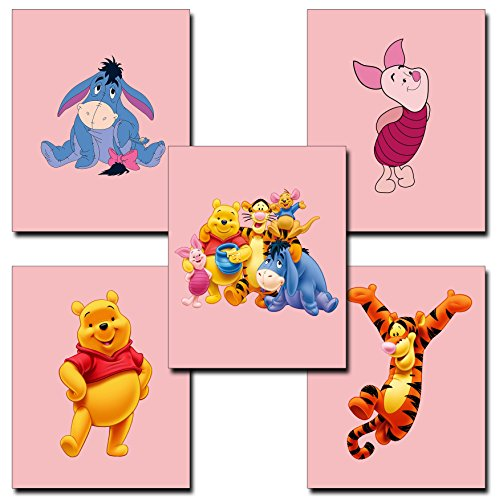 5 Pack Of Winnie The Pooh Nursery Decor Prints - Pooh Classic Border