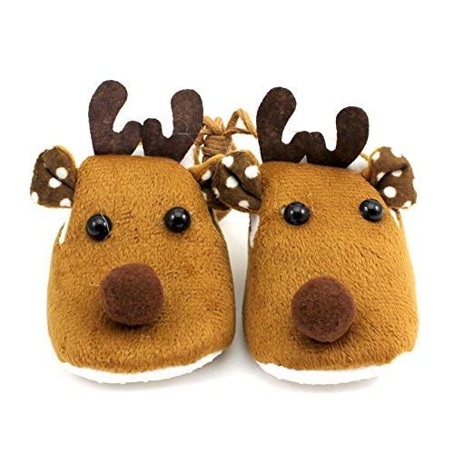 MMRM 1 par de bebé Lindo ciervos suave Anti Slip zapatos color marrón