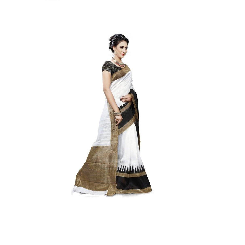 Printed Bhagalpuri Art Silk Saree (white) Indianstore24