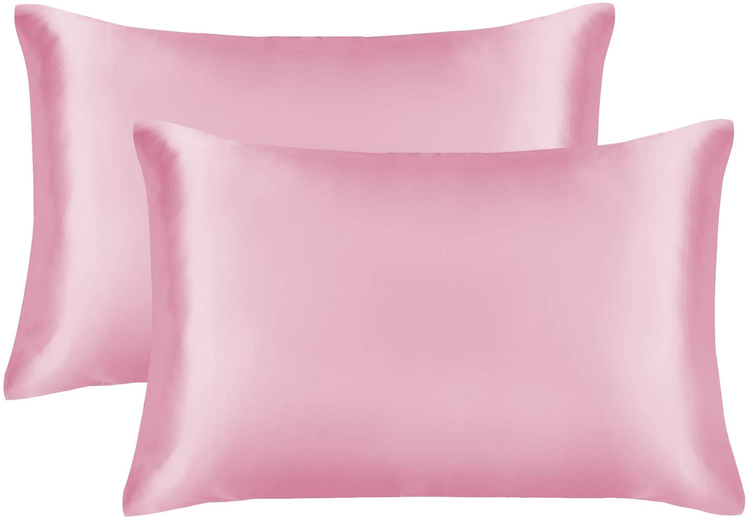 EXQ Home Satin Pillowcase for Hair and Skin,Cooling Pillow Cases King Size Pillow Case Set of 2 Satin Pillow Covers with Envelope Closure Pink (20x40 inches)
