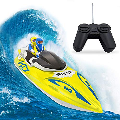 RC Boat, Remote Control Boat for Kids&Adults,2.4Ghz 4CH Electric Racing Boat for Pools and Lakes,Kids Boat Toy-Yellow