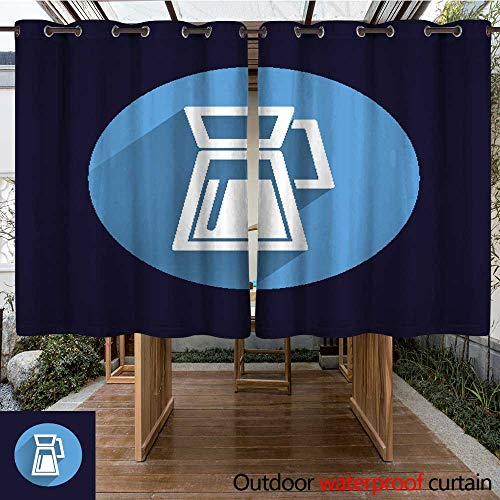 Outdoor Curtains for Patio Waterproof Glass Pitcher Logo Vector icon Compote Juice W55 x L72 (Compote Round)