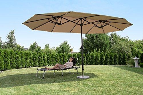 Sekey 270 x 460 cm Aluminio Doble sombrilla sombrilla jardín Pantalla Terraza Pantalla Protección Solar UV50 + Taupe: Amazon.es: Jardín