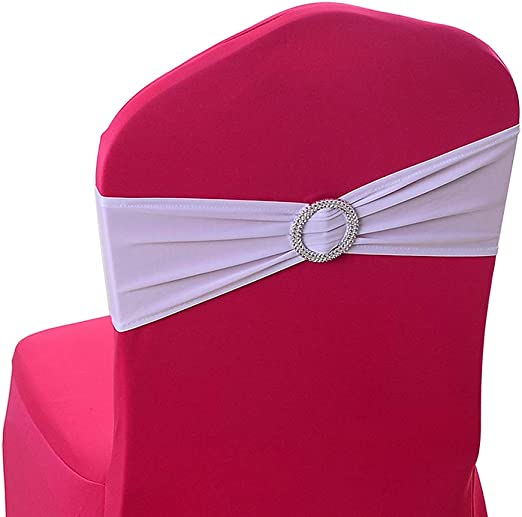 Stretch Spandex Chair Sashes Bands Bows Elastic Chair Band For Wedding Home Party Suppliers Decorations 50PCS Elastic Chair Bands