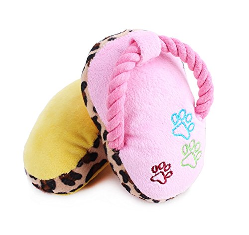 Stock Show 2Pcs Pet Chew Toys Plush Slipper Squeaker Sound Toy Dog Play Fetch Training Toy for Small Dog Puppy, Pink & ()