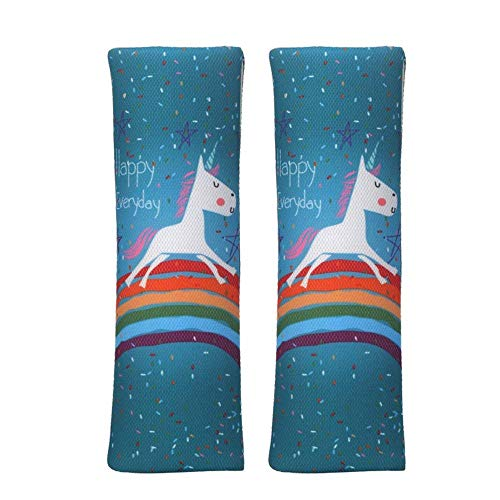 Unicorn Seat Belt Pads Pillow,Car Seat Belt Covers for Kids,Adjust Vehicle Shoulder Pads,Safety Belt Protector Cushion,Plush Soft Auto Seat Belt Strap Cover Headrest Neck Support for Child