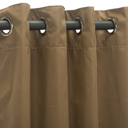 Sunbrella Outdoor Curtain Panel, Nickel Grommet Top, 50 by 84 Inch, Canvas Cocoa (Available in Multiple Colors and Sizes) Includes Custom Storage Bag; Perfect For a Patio, Porch, Gazebo, or Pergola