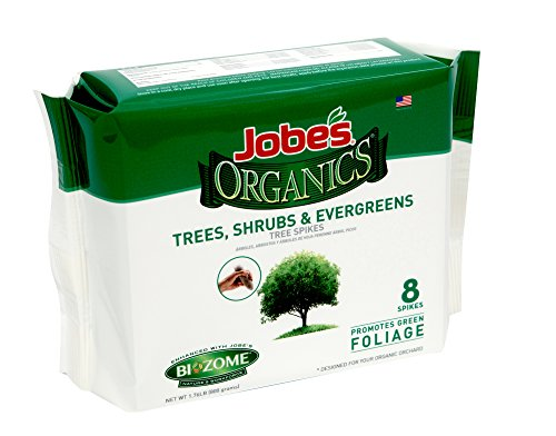 Jobes Organics Tree, Shrub & Evergreen Fertilizer Spikes with Biozome, 5-5-5 Organic Time Release Fertilizer Feeds Trees Shrubs and Evergreen Trees All Season Long, 8 Spikes per Package